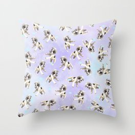 Pastel Space Pups Throw Pillow