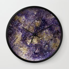 Writings in the Sky the Night Galaxy watercolor by CheyAnne Sexton Wall Clock