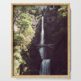 Multnomah Falls Waterfall - Nature Photography Serving Tray