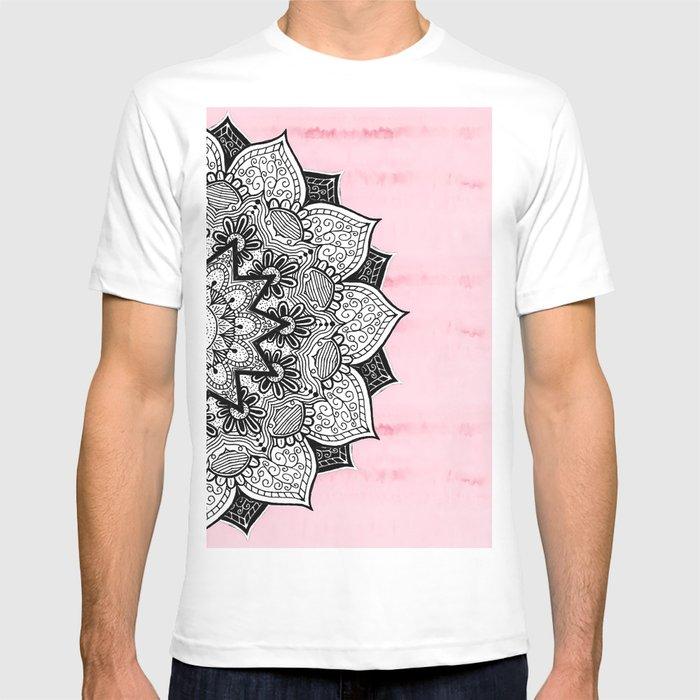 360b6d2ed9cb7 Artistic Boho Hand Drawn Mandala on Pink Tie Dye T-Shirt von ...