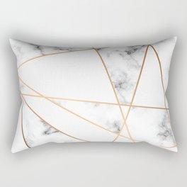 White, Gray, Gold Marble Geometric Pattern Rectangular Pillow