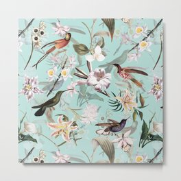 Vintage & Shabby Chic - Teal Tropical Bird Garden I Metal Print