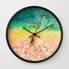 Rainbow typograph with Cracked out Glass iPhone, ipod, ipad, pillow case and tshirt Wall Clock