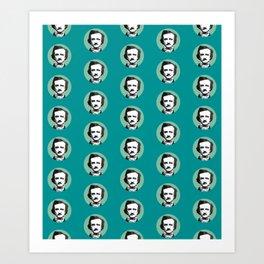 Edgar Allan Poe-ka Dots Teal Art Print