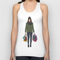 shopping Tank Tops featuring christmas shopping by Lenas 9th Art