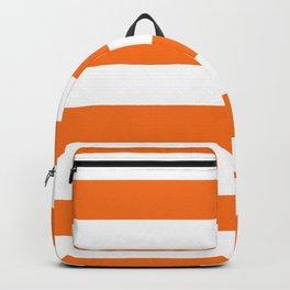 Harvest Pumpkin Orange and White Cabana Tent Stripe Backpack