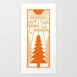 POP ART FOREST - ORANGE Art Print
