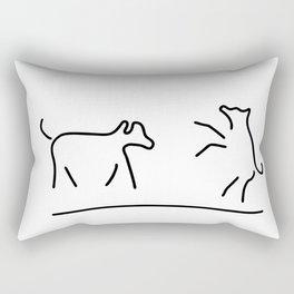 dogs play domestic animal Rectangular Pillow