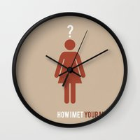 how i met your mother Wall Clocks featuring How I Met Your Mother - Minimalist by Marisa Passos