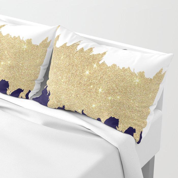 Modern navy blue white faux gold glitter brushstrokes Kissenbezug