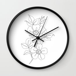 Floral one line drawing - Rose Wall Clock