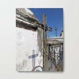 New Orleans: Raised Cemetery, Beaded Cross Metal Print