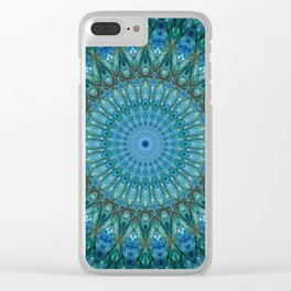 Pretty detailed sea blue and green mandala Clear iPhone Case