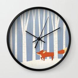 Fox in the Snow Wall Clock