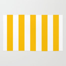 Fluorescent orange - solid color - white vertical lines pattern Rug