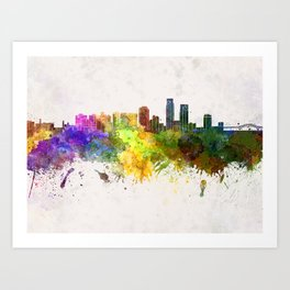 Corpus Christi skyline in watercolor background Art Print