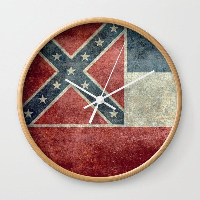 Mississippi Flag, Worn Retro Style Wall Clock