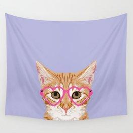 Mackenzie - Orange Tabby Cute Hipster Glasses Kitten Lavender Pastel Girly Retro Cat Art cell phone Wall Tapestry