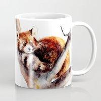 red panda Mugs featuring Red Panda by Anna Shell
