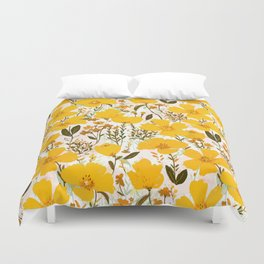Yellow roaming wildflowers Duvet Cover