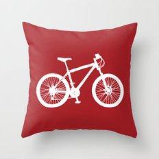Mountain Bike Red Throw Pillow