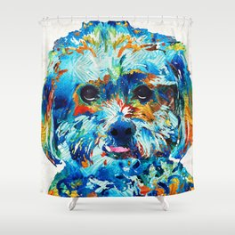 Colorful Dog Art - Lhasa Love - By Sharon Cummings Shower Curtain