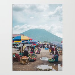 Typical daily life in a fruit and vegetable street market in Antigua Guatemala Poster