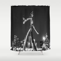 dallas Shower Curtains featuring Dallas Robot by Sofleecori