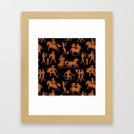 Greek Figures // Orange & Black Framed Art Print