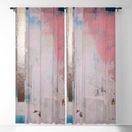 Morning Light: a minimal abstract mixed-media piece in pink gold and blue by Alyssa Hamilton Art Blackout Curtain