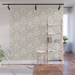 Beige and white abstract floral pattern Wall Mural