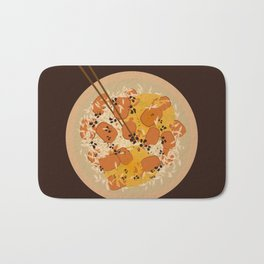 Food Illustration: Rice with beef and curry with soysauce Bath Mat