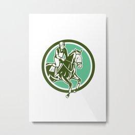 Equestrian Show Jumping Circle Retro Metal Print