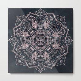 Elegant Rose Gold Mandala Gray Nebula Design Metal Print