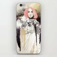 fashion illustration iPhone & iPod Skins featuring FASHION ILLUSTRATION 13 by Justyna Kucharska