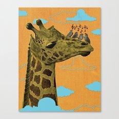 Giraffe & Singing Birds Print Canvas Print