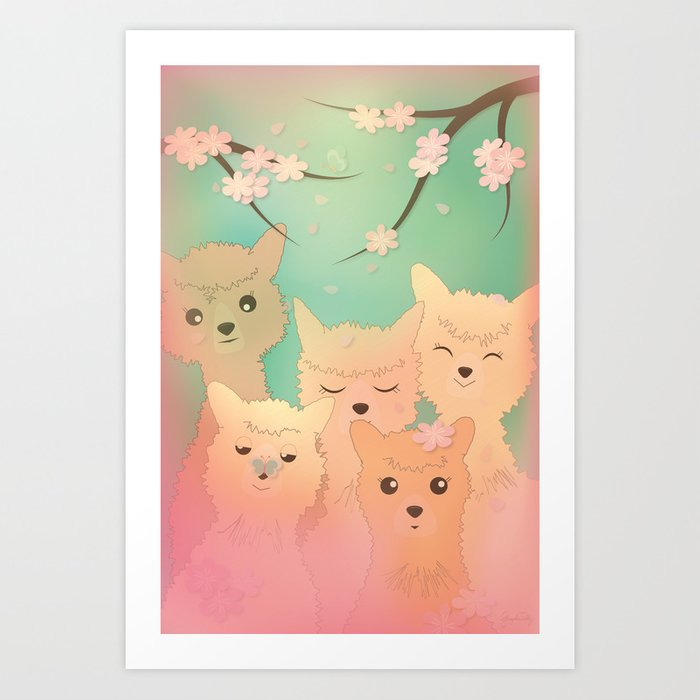 Alpaca Family II - Mint Green Spring Cherry Blossom Background Art Print