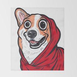 Corgi Red Hoodie Throw Blanket