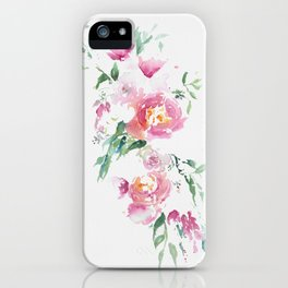 Abstract spring bouquet in bright watercolor iPhone Case