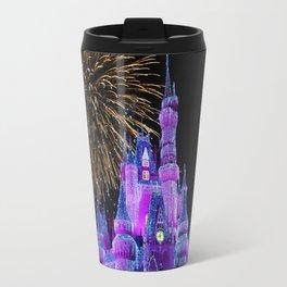 Disney Magic Kingdom Fireworks at Christmas - Cinderella Castle Travel Mug