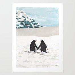 Penguins in love Art Print