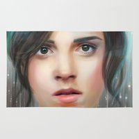 emma watson Area & Throw Rugs featuring Emma Watson by taryndraws2