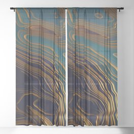 Peacock Ocean Sheer Curtain