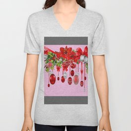 AMARYLLIS FLOWERS & HOLIDAY ORNAMENTS FLORAL PINK ART Unisex V-Neck