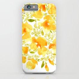 Watercolor California poppies (Quad set, #3) iPhone Case