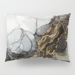 Black Gold Marble Storm Pillow Sham