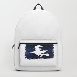 A Witch Flies On A Broom At Night I Love Halloween Backpack