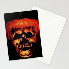 Halloween II Pumpkin Skull Stained Glass Stationery Cards