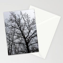 Scary tree, eerie forest, cloudy sky Stationery Cards