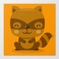 Super Cute Woodland Creatures Raccoon Canvas Print